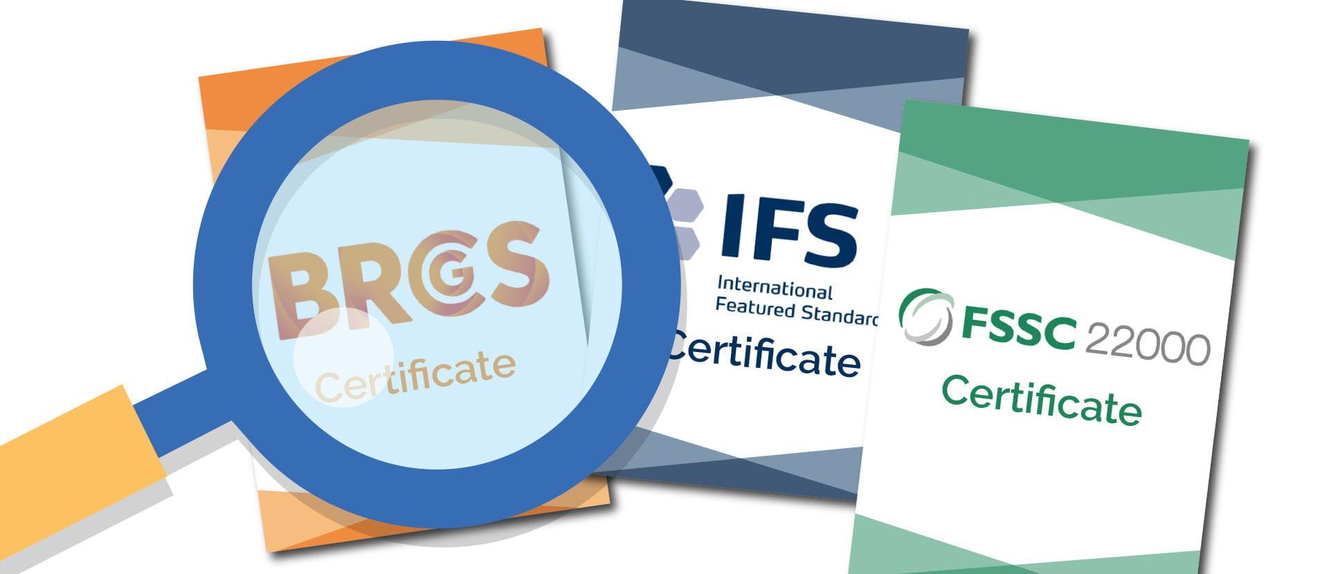 Comparison of BRCGS, IFS and FSSC certificate scores